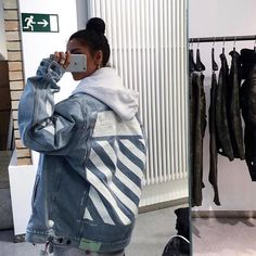 ❄️ visit our store 🤪 White Outfits, Cool Outfits, Happy Colors, Look Cool, Denim Shirt, Retro Fashion, Off White, Bae, Street Wear