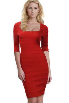 987cfb1e94ed9 Unomatch Women Fit Bodycon Hot Square Neck Dress Red Large Red     You can