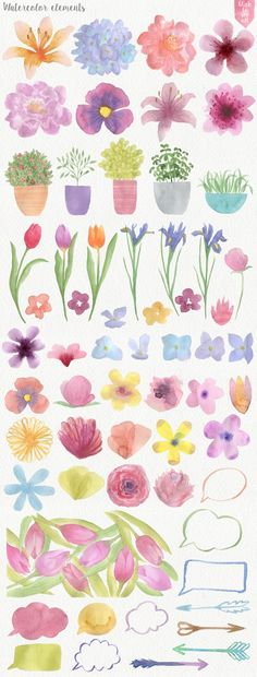Garden Watercolor DIY by Julia Dreams on Creative Market - Gouache Painting Watercolour Painting, Painting & Drawing, Diy Painting, Watercolor Water, Garden Painting, Painting Flowers, Simple Watercolor Flowers, Watercolor Flowers Tutorial, Vintage Clipart