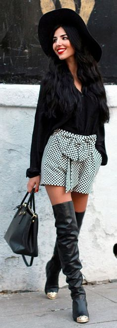 Black And White Front Bowknot Gingham Shorts by Duygu Senyurek