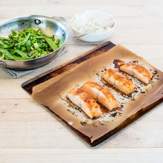 Honey Soy Glazed Salmon with Coconut and Ginger Rice and Stir-Fried Vegetables