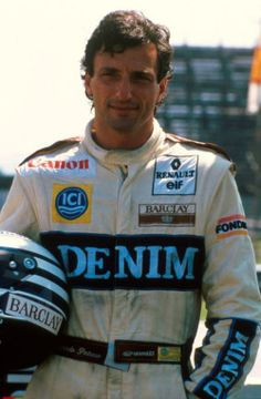 Riccardo Patrese, 1989. Denim was a major sponsor of the Williams Formula 1 team in the mid-to-late 1980s.