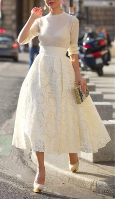 Style Note: How to Wear Head-to-Toe White (lace dress with white sweater/extender and delicate gold accents)