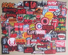 Red Lot of 62 Iron On Patch Sew Wholesale Mix Skull Biker Music Band Rock n  Roll 90b46e3c29
