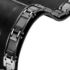 R&B Bijoux - Bracelet Homme Solide 13mm - Gourmette Liens Masculins 21cm Lourds - Carbure de Tungstène (Noir). 45,90€ #gourmette #homme #noir #carbure #tungstene #cadeau #fetedesperes