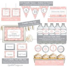 Winter Onederland Decorations - Blush Pink Silver Glitter Printables Winter Onederland Girl First Birthday Party Package Party Decorations