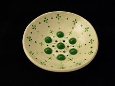 Round ceramic SOAP dish Points green by MariMadeItCERAMICS on Etsy