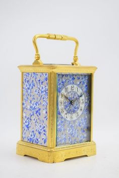 Reiseuhr Pendule Pendulette mit Porzellaneinsätzen Frankreich um 1880
