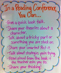 Conference Guidelines- love this! Students could pick what to talk about, leaving more responsibility and power in their hands.