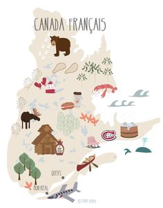 Travel infographic Map Canada Québec illustration www. Montreal Quebec, Quebec City, Travel Maps, Travel Posters, Thinking Day, Design Thinking, Canada Day, Map Design, Montreal Canada