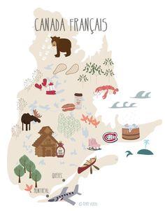 Map Canada Québec illustration www.marybirdy.fr