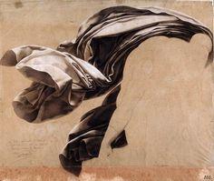 hadrian6:    Drapery study for a deluge. 1806. crayon, white chalk on paper.             Anne Louis Girodet de Roussy Trioson.  http://hadrian6.tumblr.com