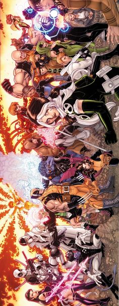 Uncanny X-Force, Vol.1 #19, Wolverine and the X-Men Vol.1 #1, X-Men: Legacy Vol.1 #259, and X-Factor Vol.1 #230 interlocking covers by Nick Bradshaw, colours by Justin Ponsor *