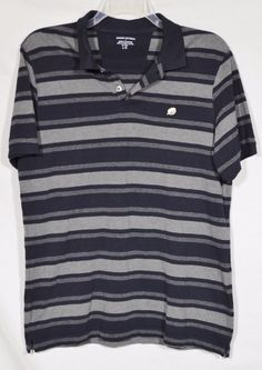 BANANA REPUBLIC Mens Black Gray Striped Polo Shirt Large Short Sleeve Cotton #BananaRepublic #PoloRugby