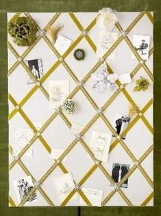 Creative Bulletin Boards to Craft Green Velvet Bulletin Board ~ This bulletin board is fit for a queen. Cover a corkboard with gray or silver fabric and staple to the back. Make a crisscross pattern from green velvet ribbon and hold in pla Ribbon Bulletin Boards, Creative Bulletin Boards, Ribbon Boards, Fabric Pin Boards, Memo Boards, Cork Boards, Picture Holders, Silver Fabric, Arts And Crafts