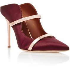 Malone Souliers Maureen Leather-Trimmed Satin Mules ($525) ❤ liked on Polyvore featuring shoes, burgundy, pointed toe mules, satin mules, handcrafted shoes, mule shoes and burgundy shoes