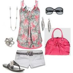 Cool Grey & Pink - Longer shorts