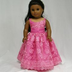 Pink Ball Gown with Lace Overlay by. Made with the Wrap Top Dress pattern, found at http://www.pixiefaire.com/products/wrap-top-dress-18-doll-clothes. #pixiefaire #wraptopdress