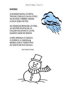 Poesias de inverno by labeques via slideshare Winter Activities, Activities For Kids, Diy For Kids, Teaching, Education, Comics, Children, School, Fictional Characters
