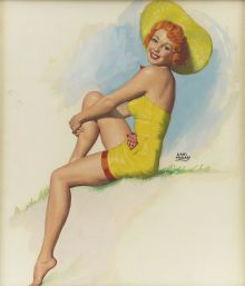 EARL MORAN (American 1893 - 1984). Yellow Hat pinup illustration.