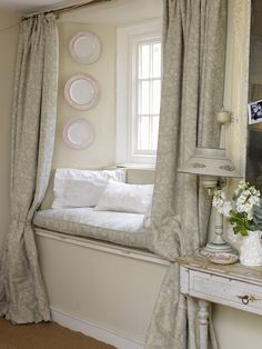 Every house needs a window seat for a reading nook. Window Seat Curtains, Window Sill, Aqua Curtains, Window Ledge, Long Curtains, Greige, Window Seat Kitchen, Kitchen Curtains, Cozy Nook