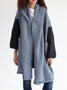 Lauren Manoogian Blocked Capote Coat - Chambray/Denim/Black