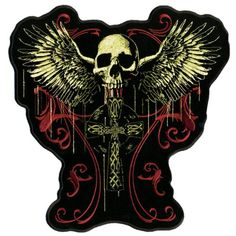 Hot Leathers Flying Skull Gothic Cross Patch (12″ Width x 12″ Height) | http://www.bikeraa.com