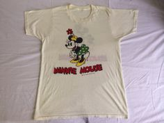 0b1d0701 Vintage MINNIE MOUSE 70s Tshirt/ Original Walt Disney Productions DOUBLE  Sided Graphic Ink Print Small T-shirt/ Mickey Mouse Cartoon Tee