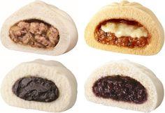 左上:手包み肉まん 右上:モッツァレラチーズのピザまん  左下:十勝こしあんまん 右下:北海道つぶあんまん