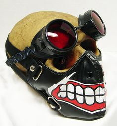2 pc. 'BIG SMILE' Smiley Dust Riding Mask with Matching Welders Goggles - A Burning Man Must Have by jadedminx on Etsy