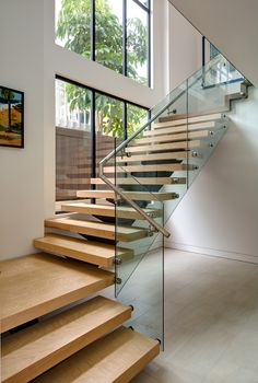 New Construction - Encinitas: Modern stairway with glass railing and wood by Dawson Design Group - Lookbook - Dering Hall