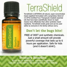 Don't let mosquitoes ruin your summer fun - use doTERRA's Terra Shield and you will smell great and bite free!!  http://mydoterra.com/maureenhpeck