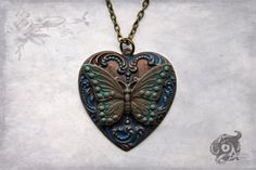 Neo-Victorian hand-painted brass loveheart & by TheArkanaWorkshop