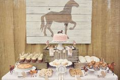 """Photo 17 of 36: Pink Brown Vintage Ponies / Birthday """"Vintage Pony Party"""" 