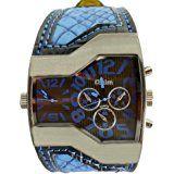 Oulm Hombres Reloj Deportivo Militar Dual Movt reloj de pulsera con banda de piel de cuarzo decorativo Sub-dials
