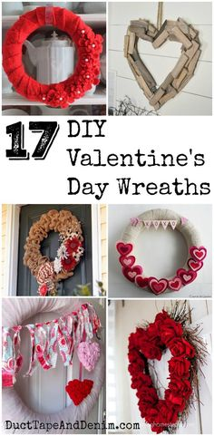 17 DIY Valentine's Day Wreaths on www.DuctTapeAndDenim.com  #valentinewreath #valentinewreaths #valentineswreath #valentineswreath #valentinesdaywreath #valentinesdaywreaths #DIYwreathideas #DIYwreaths #valentinesdaydecor #valentinesdaydecorations
