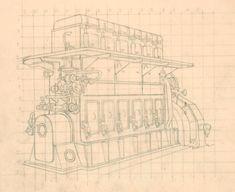 "Modern British Art Works by John Luke: ""Study for Engine at Harland and Wolff, John Luke, Art Studies, Modern Art, Engineering, Sketch, Museum, Study, Drawings, Sketches"