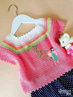 Crochet Knitting Handicraft: Rainbow topic for girls Baby Sweater Patterns, Baby Knitting Patterns, Baby Patterns, Crochet Patterns, Crochet Girls, Crochet For Kids, Crochet Top, Crochet Children, Crochet Baby Sweaters