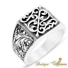 #luxury Hand Made Silver Man Ring Square Design #jewelry #ottoman