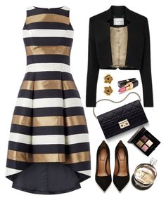 """Metallic Stripe Dress"" by kiki-bi ❤ liked on Polyvore featuring Christian Dior, Givenchy, Chanel, Oscar de la Renta and metallicdress"
