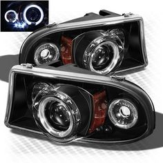 For 97-04 Dodge Dakota Twin Halo LED Projector Headlights Black Head Light Lamp