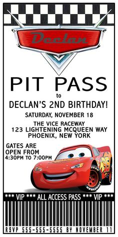 Disney Lightening Mcqueen Ticket Birthday Invitation. DIGITAL