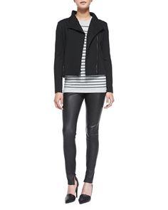 Asymmetric Scuba Jacket, Breton-Stripe Boy Tee & Smooth Leather Leggings by Vince at Bergdorf Goodman.