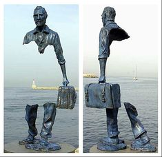 """Bruno Catalano exprime l'idée d'Humanité à travers ses sculptures. Ainsi, il a crée une série extraordinaire de sculptures en bronze appelés """"Les Voyageurs"""" qui représentent les travailleurs humains réalistes avec de grandes parties de leur corps manquants.helloodesigner"""