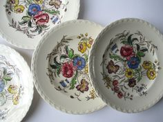 Vintage Vernonware Mayflower Luncheon Plates Set by thechinagirl