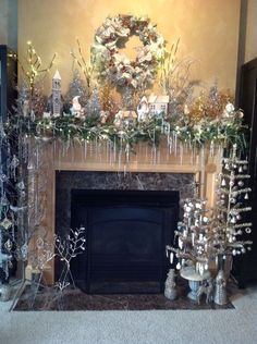 27 Stylish Modern Thanksgiving Mantel Decor Ideas You'll Love : Page 9 of 27 : Creative Vision Design Elegant Christmas, Blue Christmas, Beautiful Christmas, Christmas Home, Christmas Villages, Vintage Christmas, Victorian Christmas, Christmas Trees, Christmas Ornaments