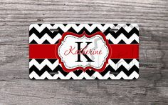 """Personalized Monogrammed License Plates - Cute Mint monogram on Lavender chevron - Designed by """"- NestGiftCo -"""" adds a great style to your vehicle.  Our car tags are made of aluminum and are made through a process called sublimation. Gelled dyes are spritzed onto a specially coated paper. An al..."""