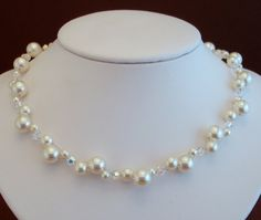 Perle e Cristalli Necklace - Swarovski Pearls and Crystals - Ivory or White Pearls $45.00