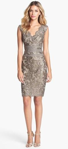 Embellished Metallic Lace Sheath Dress. rehearsal dinner dress