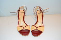 Ann Taylor Patent Red Leather and Straw Heels-Size 8M-gently used #AnnTaylor #OpenToe